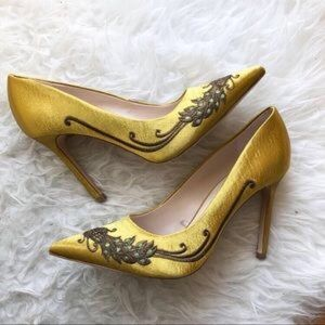 Yellow satin heels